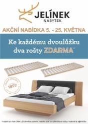Akce laťové rošty zdarma k posteli z masivu JELÍNEK výroba nábytku v HANY nábytek matrace OD DON HK Hradec Králové Jičín JC